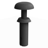 Black UL94 V-2 Nylon Round Snap Push-In Rivet -  Compatible Hole Diameter Range 2.1 - 2.2 mm   0.083 - 0.087 in; Compatible Panel Thickness Range 3.8 - 4.3 mm   0.148 - 0.170 in; Anchor Length 5.6 mm   0.220 in