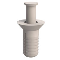 White Acetal Round Snap Screw In Rivet - Compatible Hole Diameter 6.4 mm   0.250 in; Panel Thickness Range 6.4 mm   0.250 in; Head Diameter 11.1 mm   0.437 in; Head Height 2.7 mm   0.108 in; Anchor Length 14.3 mm   0.562 in