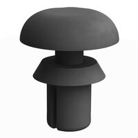 Black UL94 V-2 Nylon Round Snap Push-In Rivet -  Compatible Hole Diameter Range 21.1 - 2.2 mm   0.830 - 0.087 in; Compatible Panel Thickness Range 6.1 - 1.2 mm   0.240 - 0.047 in; Anchor Length 2.3 mm   0.090 in