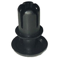 Black UL94 V-2 Nylon Round Snap Push-In Rivet -  Compatible Hole Diameter Range 3.6 - 3.7 mm | 0.142 - 0.146 in; Compatible Panel Thickness Range 2.1 - 3 mm | 0.083 - 0.118 in; Anchor Length 4.3 mm | 0.170 in