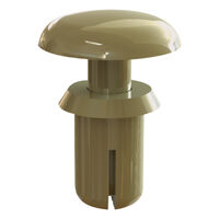 Tan UL94 V-2 Nylon Round Snap Push-In Rivet -  Compatible Hole Diameter Range 3.6 - 3.7 mm | 0.142 - 0.146 in; Compatible Panel Thickness Range 2.1 - 3 mm | 0.083 - 0.118 in; Anchor Length 4.5 mm | 0.177 in