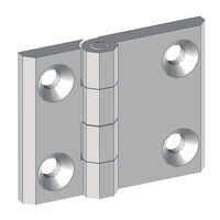 Free Swinging Hinge - Overall Length - 50.0 mm   1.969 in ; Overall Width - 63.0 mm   2.48 in ; Material - Zinc Alloy ; Number of Mounting Holes - 4